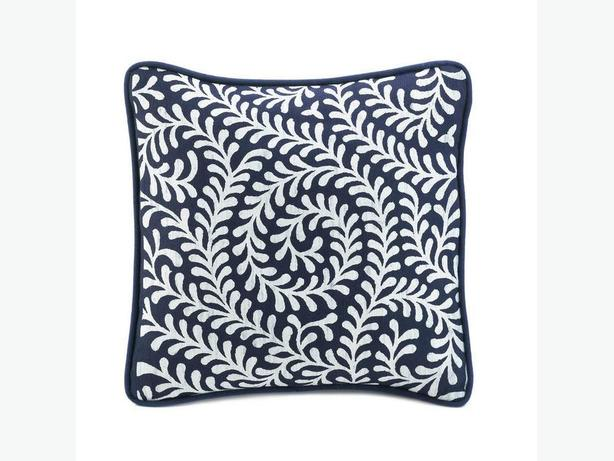 Navy Blue & White Accent Throw Pillow Cushion Set of 6 Brand New