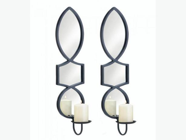 Geometric Candleholder Wall Sconce with Mirror Set of 2 NEW Black