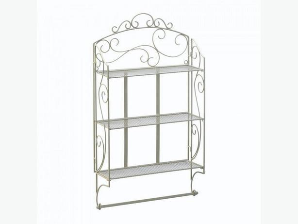 "Ivory Metal Display Wall Shelf 3 Shelves & Bottom Bar 30"" Tall NEW Versatile"