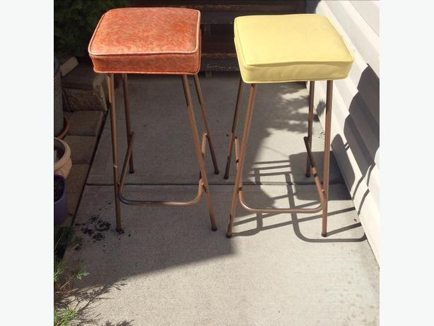 Antique upholstered high stools