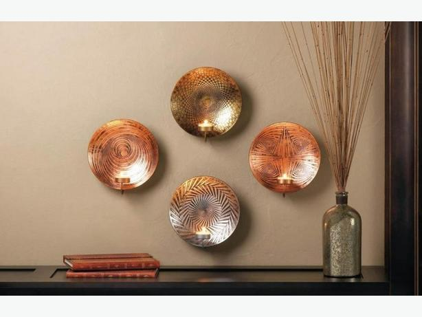 Geometric Round Metal Plate Candleholder Wall Sconce 4 Designs Mix & Match NEW +