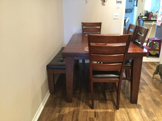 6 seater Wood Dining table with bench and 4 chairs