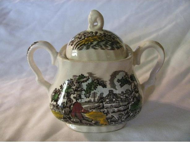 Vintage Myott Sugar Bowl with Lid The Hunter Made in England