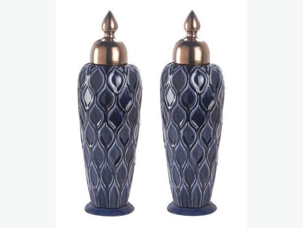 Deep Blue Stoneware Decorative Urn with Metallic Lid Set of 2 NEW