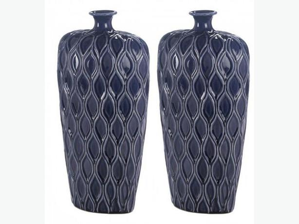 Tall Dark Blue Stoneware Vase Set of 2 Brand New