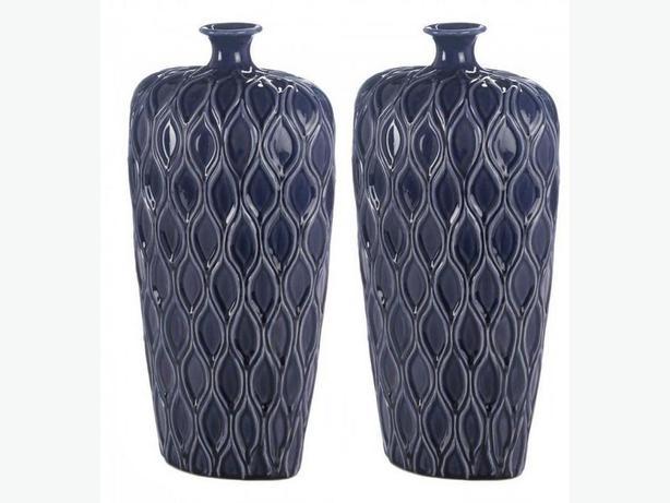 Tall Dark Blue Stoneware Vase Set of 2 Brand New