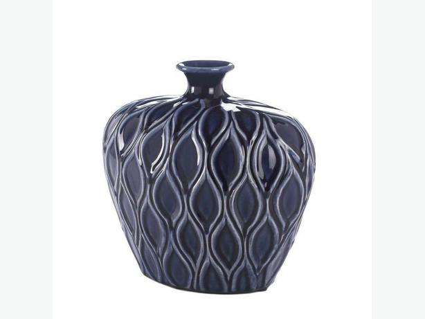 Dark Blue Stoneware Lip Vase Set of 2 Brand New