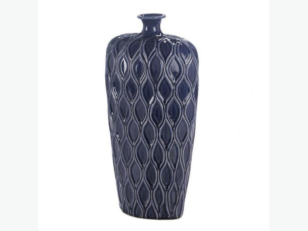 Dark Blue Stoneware Vase Large & Small 2 Styles Mixed Small Mouth NEW