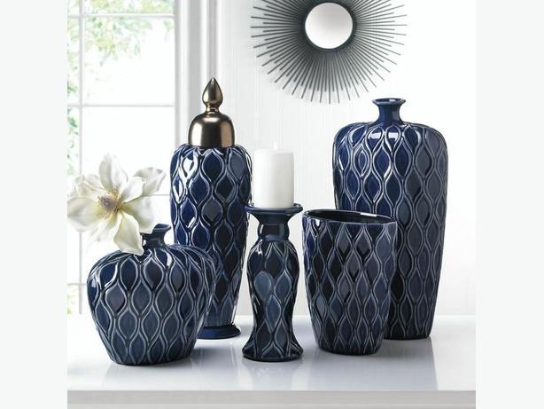 Deep Blue Stoneware Vase Collection Matching Candleholder & Urn 4PC Mixed