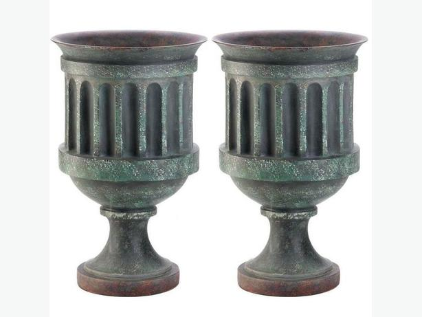 Large Grecian-Style Pedestal Urn Planter Weathered Copper-Look Finish 2 Lot NEW