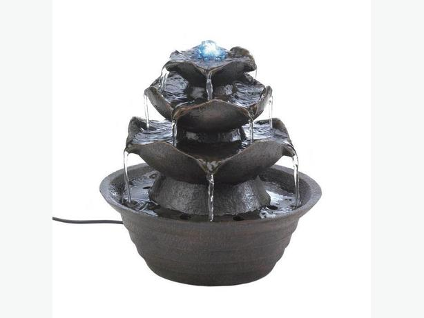 Sculpted Stone-Look Blooming Flower Tabletop Electric Fountain with LED Light