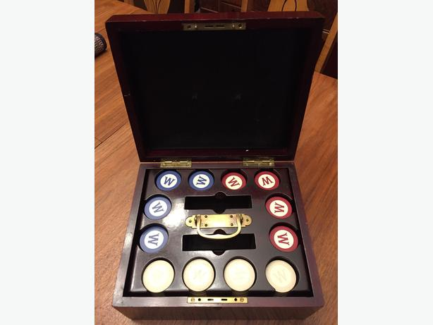 Antique Mahogany Poker Chip Box & Monogrammed Poker Chips