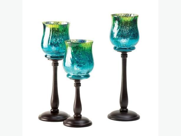 3PC Pedestal Candleholder Set Iridescent Blue & Green Brand New