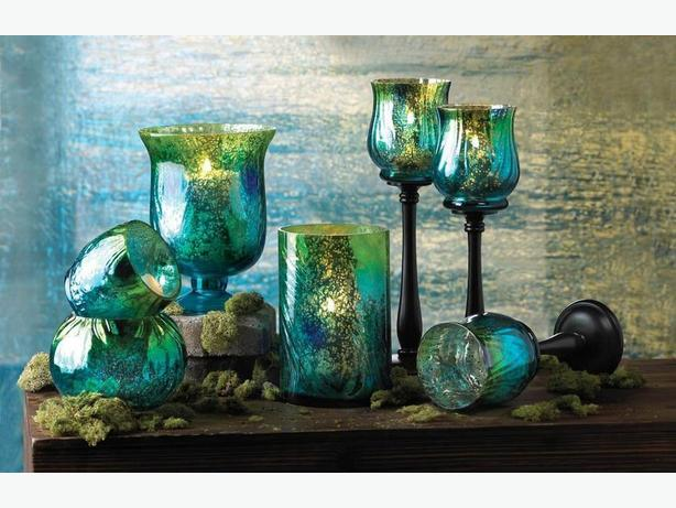 Iridescent Blue Green 7PC Candleholder Collection Pedestal Hurricane Vase & More