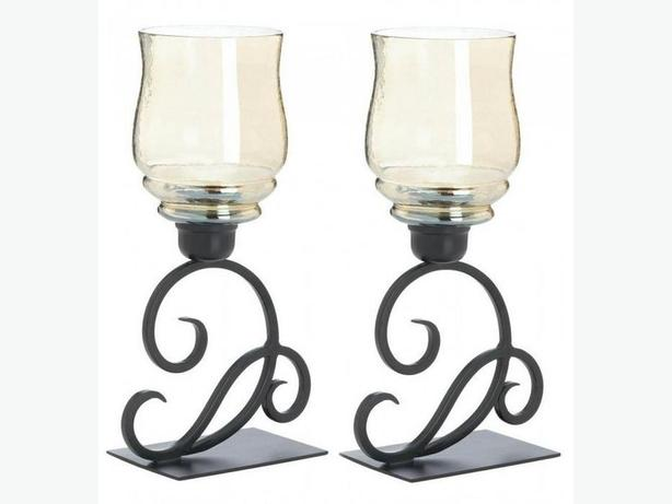Iridescent Hurricane Glass Candleholder On Black Scrollwork Stand Set of 2 NEW