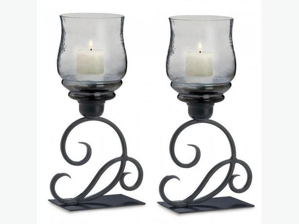 Smoked Glass Hurricane Candleholder On Black Scrollwork Stand Set of 2 NEW
