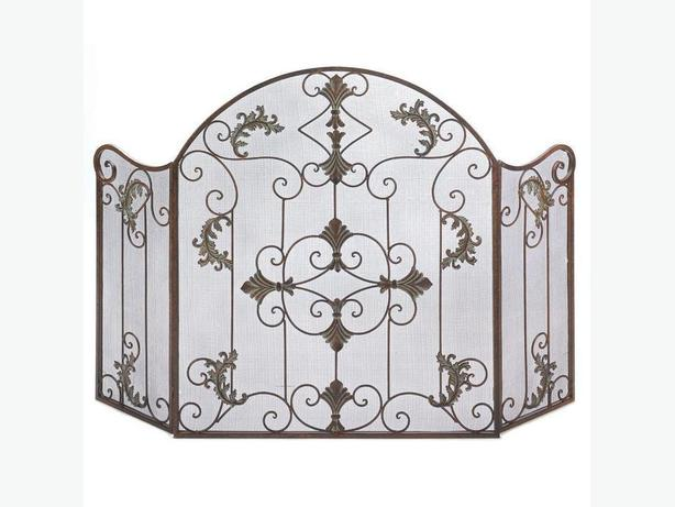 Ornate Scrollwork Fireplace Screen with Antiqued Warm Rustic Finish NEW