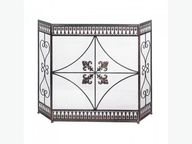 Intricate Fleur-De-Lis Fireplace Screen with Scrollwork Detailing NEW