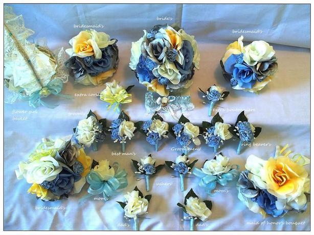 22 piece wedding flower set