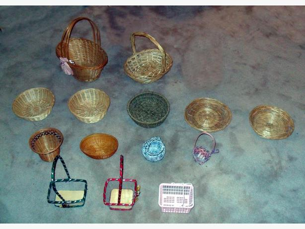 16 (14 shown) Mostly Wicker Baskets of Various Shapes and Sizes