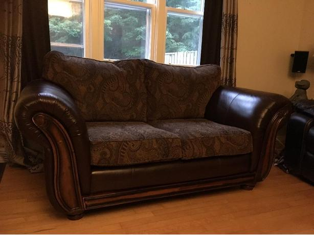 Love Seat (Leather/Fabric) excellent condition!