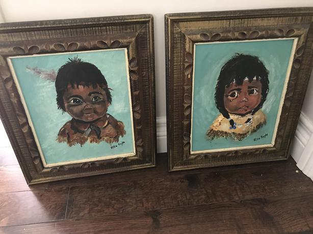 Set of Paintings of First Nations Girl and Boy