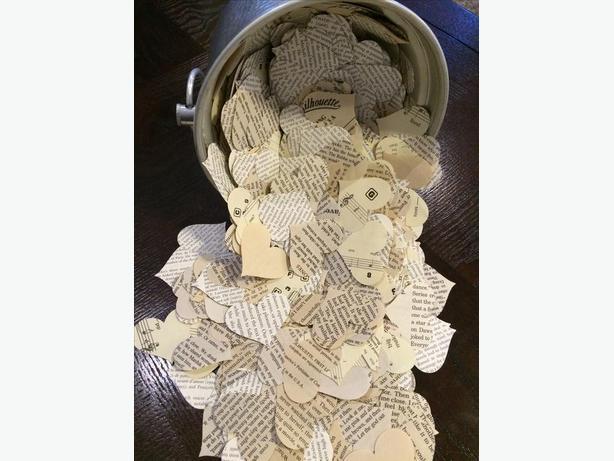 Romantic Paper Heart Confetti Vintage Wedding Decor Hand Cut