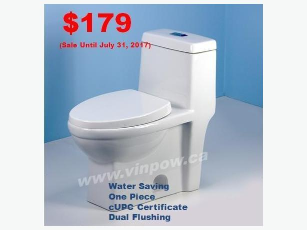 NEW One Piece Toilet, Dual Flushing, UPC Certificate, Water Saving from $129