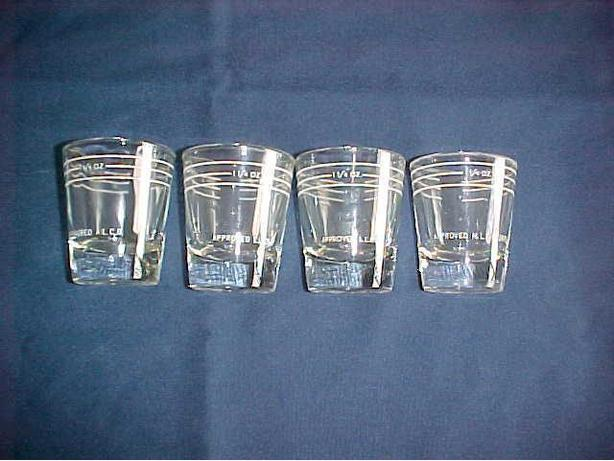 4 DIFFERENT LIQUOR CONTOL BOARD SHOT GLASSES