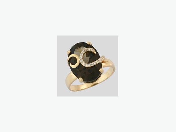 New ladies gold ring with smokey quartz
