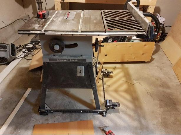 sterling saw unisaw mdl rockwell used biesmeyer table