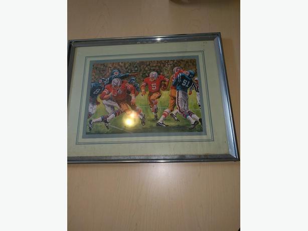 Framed Football Painting
