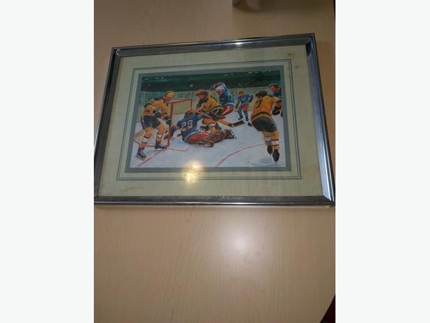 Framed Hockey Painting