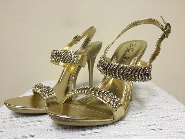 """$45 OBO De Blossom Gold Heels / Shoes Rhinestone Strappy 4 1/2"""" Stiletto- Size 7"""