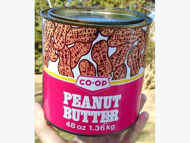 VINTAGE 1970's CO-OP PEANUT BUTTER (48 oz) TIN CAN