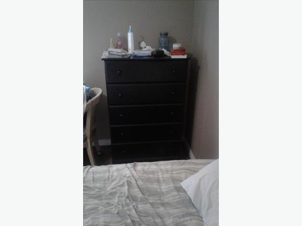 5 Drawer Black Wood Dresser