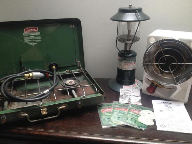Propane Stove, Heater, and 2 Lanterns