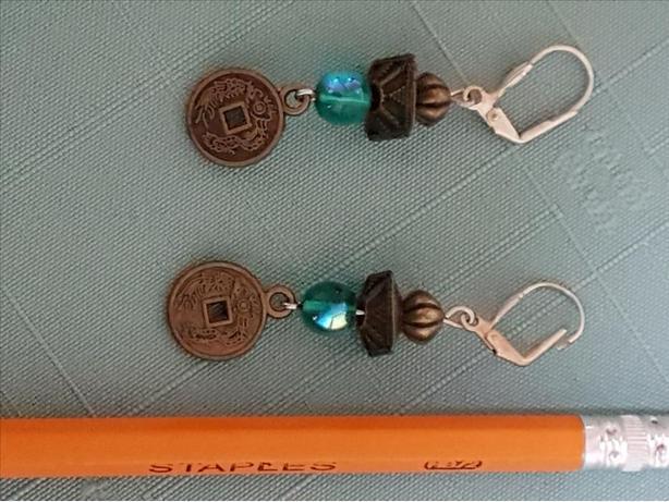 Metal and bead earrings - worn once