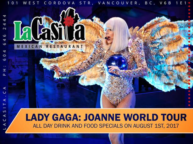 Lady Gaga Pre-Drinks and Meal Specials in Gastown