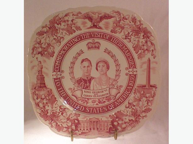 Maddock & Sons 1939 U.S.A. royal visit commemorative plate