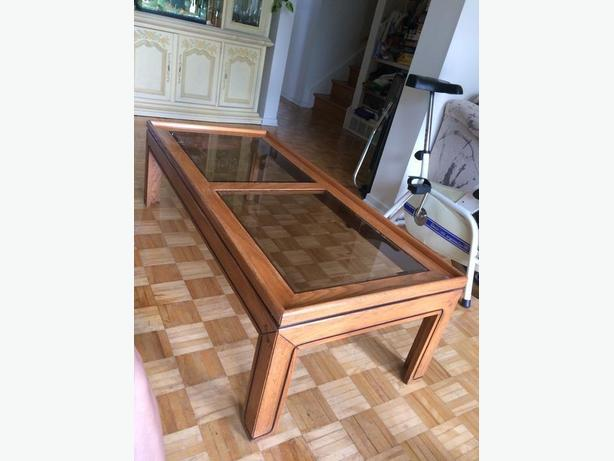 coffee table, solid wood, glass panels, matching end table