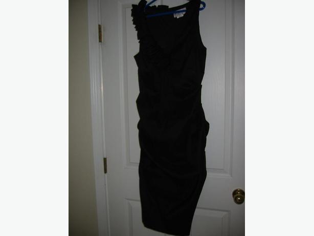 """BETSY & ADAM"" STUNNING RUCHED BLACK DRESS: BRAND NEW: RETAIL $365"
