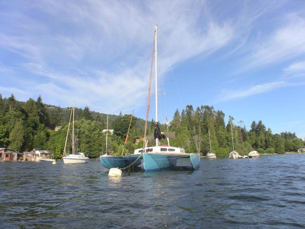 31′ Kismat Trimaran with private mooring in Ganges harbour, Salt Spring Island.