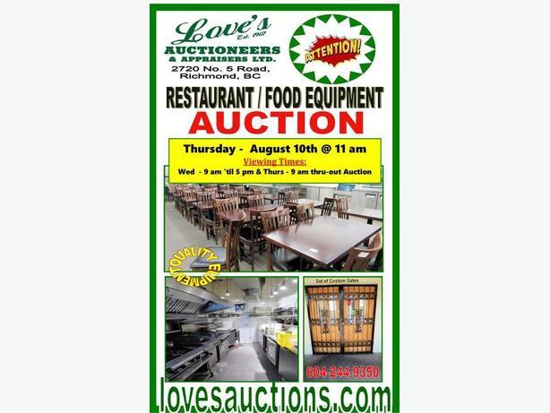 GIANT RESTAURANT FOOD EQUIPMENT AUCTION - THURSDAY, AUGUST 10th @ 11 am