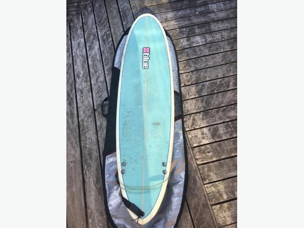 6'6 blue surfboard