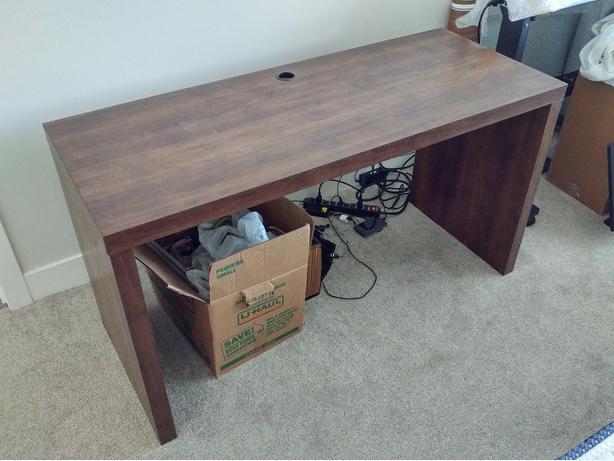 """Staples Whalen Manning Desk, 55"""" x 22"""" x 30"""" Warm Walnut Finish"""