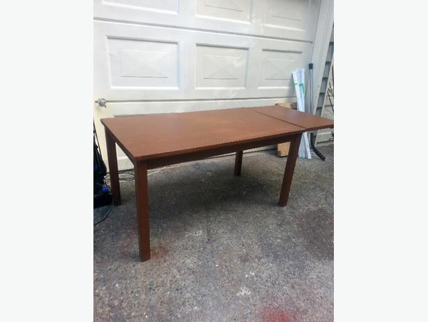 dining table with folded down leaf real wood