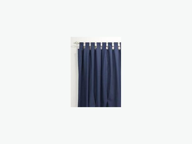 """BRAND NEW: 2 CHAMBRAY DENIM TABTOP CURTAINS: EACH 43W (86""""W total) by 45""""L"""