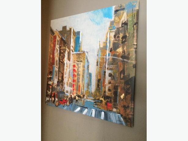large city scene print