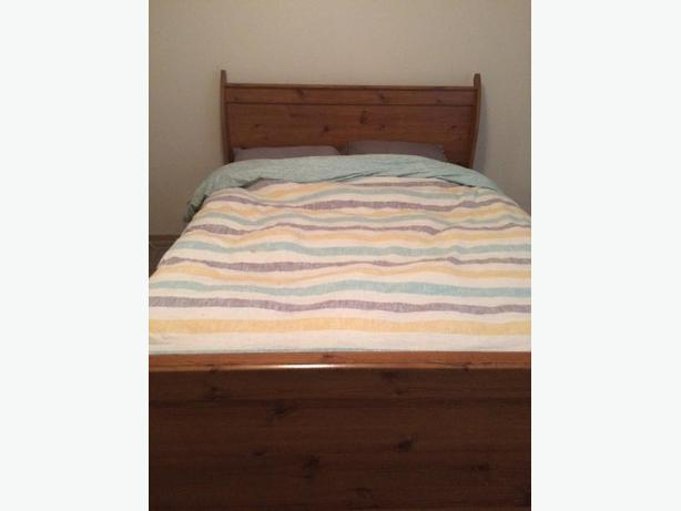 chestnut sleigh bed + box spring, mattress and memory foam topper